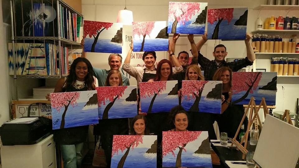 Team building events nyc paint sip studio ny for 151 west broadway 4th floor new york ny 10013